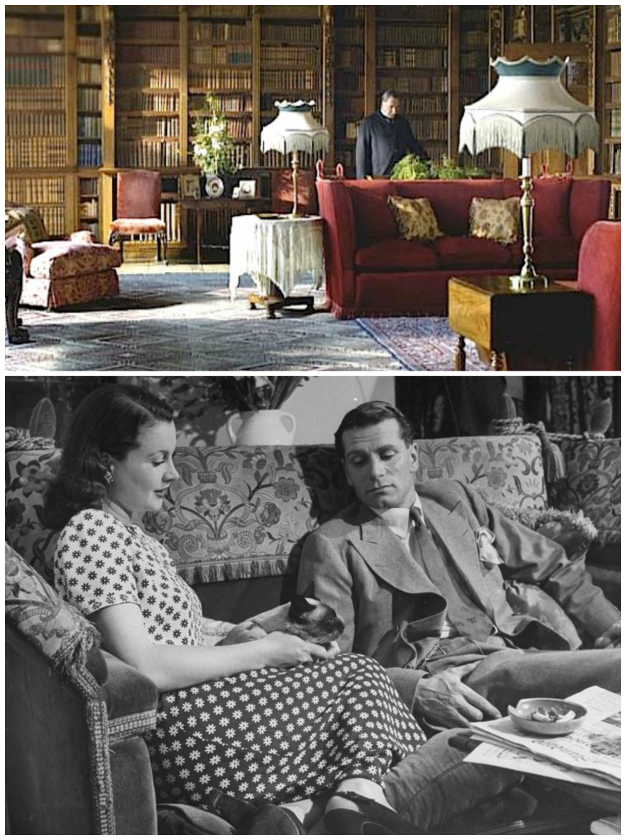 Knole Settee in Downton Abbey and Vivien Leigh/Laurence Olivier collage.