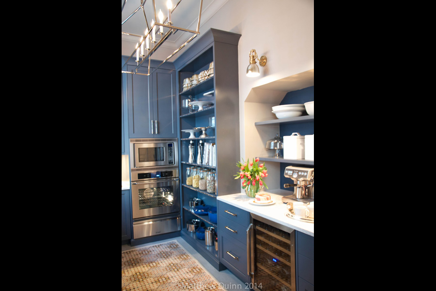 Blue cabinetry in Matthew Quinn's Quatrefoil Inspired Kitchen at the 2014 Kips Bay Decorator Showhouse