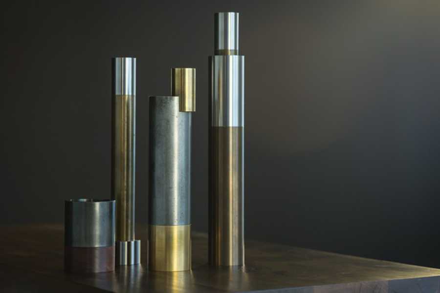 Candlesticks. Machined brass, stainless steel, steel and turned walnut candlesticks. Image by Steven Poe.