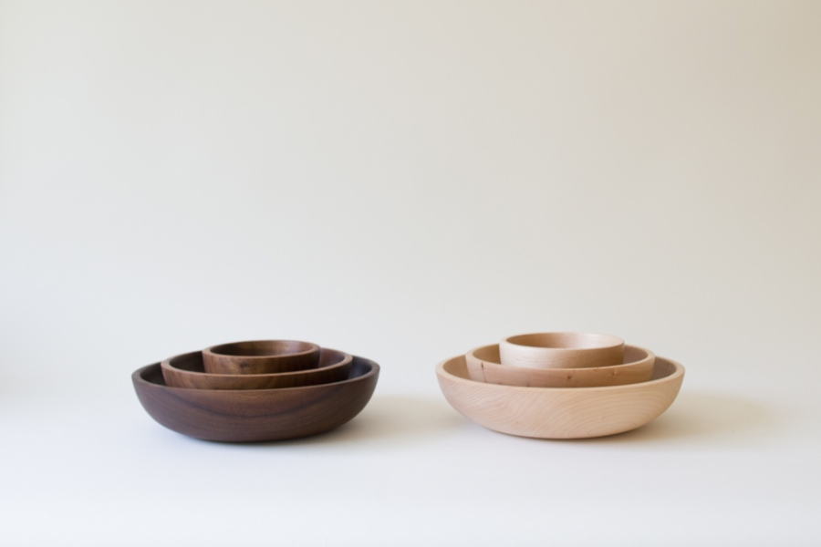 Maple and Claro Walnut Bowls by Silvia Song