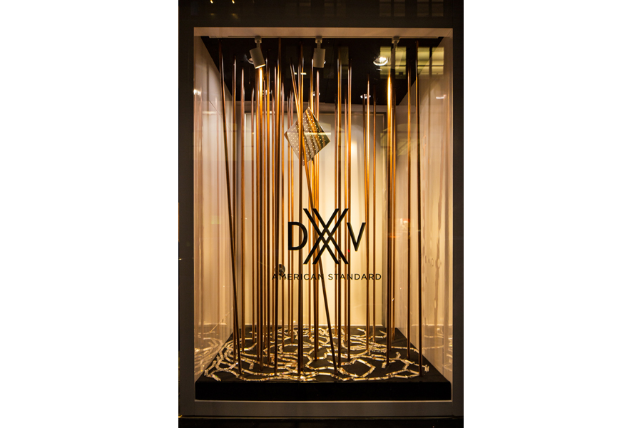 DXV NYC Showroom Window by VOA Architecture - Copper Pipes
