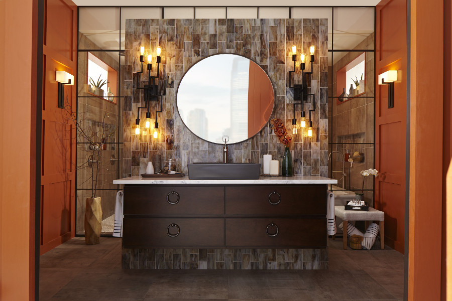 "Marilyn Russell's ""Balanced Bath"" for DXV fused masculine colors and architectural element with feminine shapes for a perfectly balanced whole."