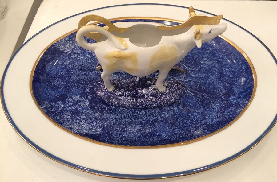 "Taking a cue from Damien Hirst, Paul Scott created ""Cow in the Meadow."""