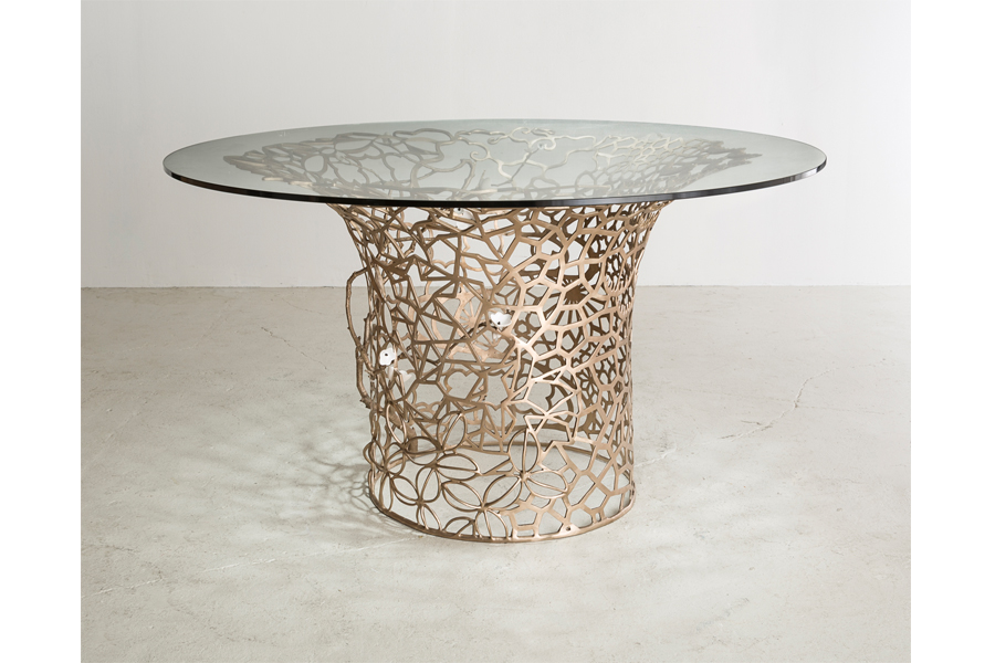 "Unique Collage Column table in bronze with porcelain Cherry blossoms and glass top. Designed and made by David Wiseman, USA, 2014. 30"" H x 54"" D / 76.2cm H x 137.2cm D (DT401)."