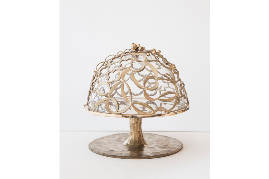 "Unique Collage Lace cake stand in bronze and hand-blown glass. Designed and made by David Wiseman, USA, 2015. 10.75"" H x 10"" D / 27.3cm H x 25.4cm D (SM5787)."