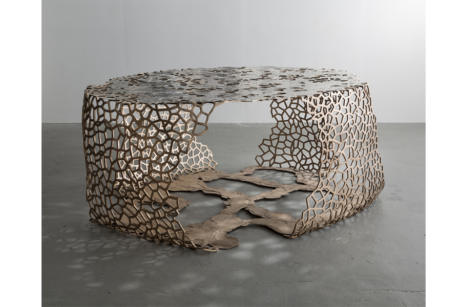 "Unique Lattice Ribbon table in cast red bronze with poured white bronze. Designed and made by David Wiseman, USA, 2015. 77"" L x 61"" W x 30.5"" H / 195.6cm L x 154.9cm W x 77.5cm H (SU483)."