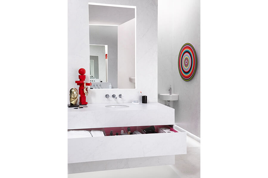 DXV Pop Grande Round Under Counter Bathroom Sink with Percy Wall Mount Faucet