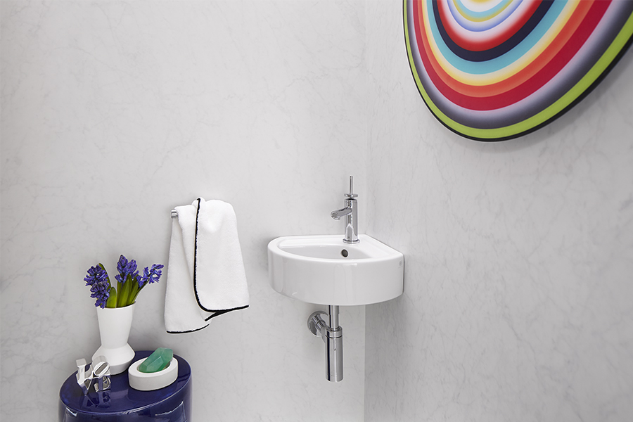 DXV Cossu Small Corner Wall-Hung Bathroom Sink, DXV Percy Single Handle Bathroom Faucet with Stem Handle