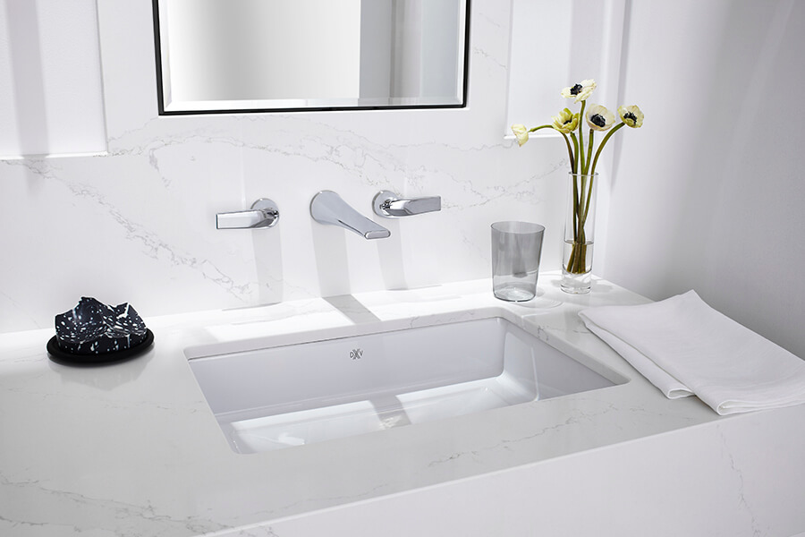 DXV Pop Grande Rectangle Under Counter Bathroom Sink, DXV Modulus Wall-Mount Widespread Faucet