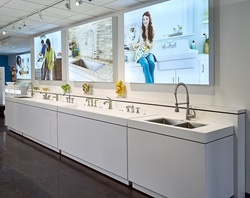 Offering ample space to develop and display prototypes of future products, the new industrial design studio at the American Standard headquarters in Piscataway, N.J. was built to stimulate creativity. This interactive display features bathroom faucets from the Times Square, Quentin, Town Square, Berwick and Portsmouth collections, which are book-ended with high-style Pekoe and Quince kitchen faucets.