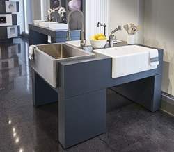 American Standard has demonstrated its commitment to innovative design and technology with the opening of an expansive new studio to support the Company's growing design team. Pictured here are stainless steel and fine fire clay sinks from the DXV Hillside assortment, showcasing Fresno and Victorian kitchen faucets.