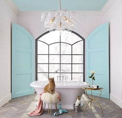 Lisa Mende used her design talents to craft a fun and feminine bathroom inspired by Breakfast at Tiffany's, blending retro touches with sophisticated pieces, like the DXV Pop lavatory and Rem vessel faucet, to symbolize the main character's complexity.