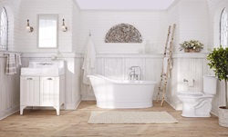 DXV Oak Hill Collection Bathroom Sink with Vanity, Freestanding Soaking Tub and Two-Piece Elongated Toilet