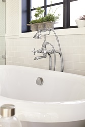 DXV Landfair Floor Mount Tub Filler and DXV St. George Freestanding Soaking Tub
