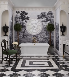 """Southern Classic"" Charleston (1890 – 1920) by Susan Jamieson – Fitzgerald Freestanding Soaking Tub and Transitional Floor Mount Tub Filler"