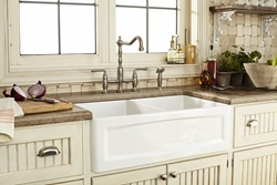 DXV Hillside Apron Sink Collection and Victorian Bridge Kitchen Faucet