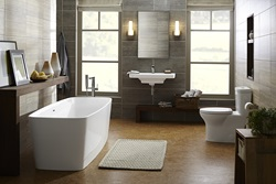 DXV Equility Collection with One Piece Dual-Flush toilet, Freestanding Soaking Tub, Monoblock Bathroom Faucet, and a Wall-Hung Trough Bathroom Sink
