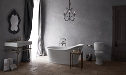 DXV Oak Hill Collection Freestanding Soaking Tub, Console Sink, Two-Piece Elongated Toilet and Transitional Floor-Mount Tub Filler with Ashbee Lever Handles