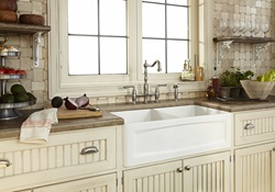 DXV Hillside Apron Sink Collection with the Victorian Bridge Kitchen Faucet and Hillside Apron Front Kitchen Sink