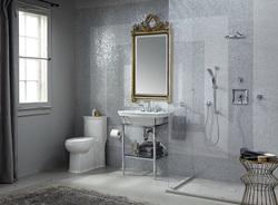 DXV Wyatt Collection with Console Sink, One-Piece Elongated Toilet and Keefe Collection Widespread Bathroom Faucet, Personal Shower Set and Shower Trim Kit