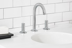 Modern knob style handles highlight this Studio S widespread, high spout bathroom faucet from American Standard, a 2018 Red Dot Product Design Award winner.