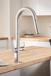 The winner of a 2018 Red Dot Product Design Award, the Beale MeasureFill pull-down kitchen faucet from American Standard is one of the first on the market to deliver an adjustable set volume of water on demand.