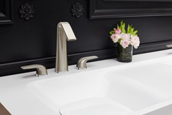 Designed to offer a personalized two-tone look with contrasting brass rings, the DXV Modulus high-arc widespread lavatory faucet won a 2018 Red Dot Product Design Award for its distinctive styling.