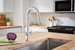 The winner of a 2018 GOOD DESIGN Award, the Beale MeasureFill Touch kitchen faucet from American Standard employs industry-leading technology to deliver an adjustable set volume of water on demand ― ranging from a half cup up to five cups ― giving consumers the precise measurement faster than using conventional measuring cups.