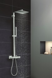 The Euphoria Cube shower system introduces pure geometric form to the shower environment and is engineered for maximum comfort and dependable safety.