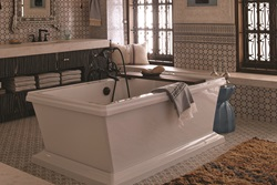 Golden Era Movement (1920 - 1950) - Casablanca by Kati Curtis - Fitzgerald Freestanding Soaking Tub and Transitional Floor Mount Tub Filler with Randall Cross Handles