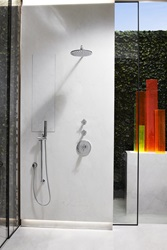 Modern Movement (1950 – 1990) - Mid-Century Sculpture Garden by Jonathan Legate - Slim round 10-inch shower head and Percy personal shower set with hand shower