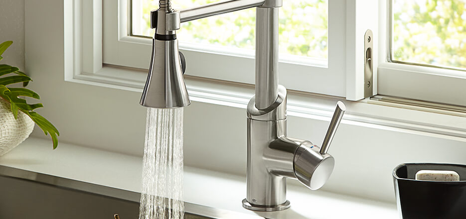 7 Faucet Finishes For Fabulous Bathrooms: Fresno Modern Kitchen Faucet Collection From DXV