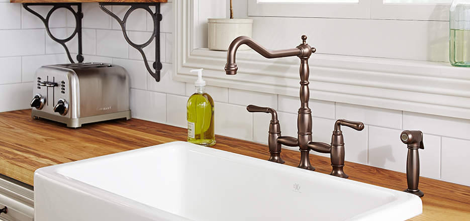 7 Faucet Finishes For Fabulous Bathrooms: Victorian Classic Kitchen Faucet Collection From DXV