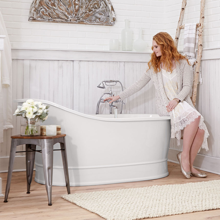 Farmhouse Style Bathtub with Woman