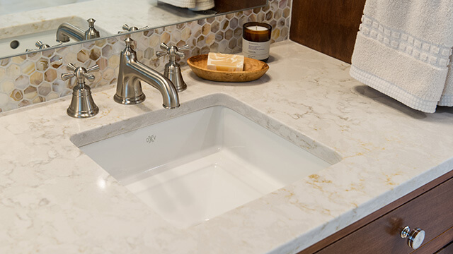 DXV Randall Widespread Faucet with Cross Handles paired with DXV Pop Square Grande Under Counter Sink