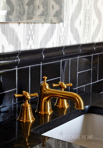 DXV Pop Petite Rectangle Under-Counter Sink and DXV Randall Widespread Faucet with Cross Handles styled by Kevin Walsh