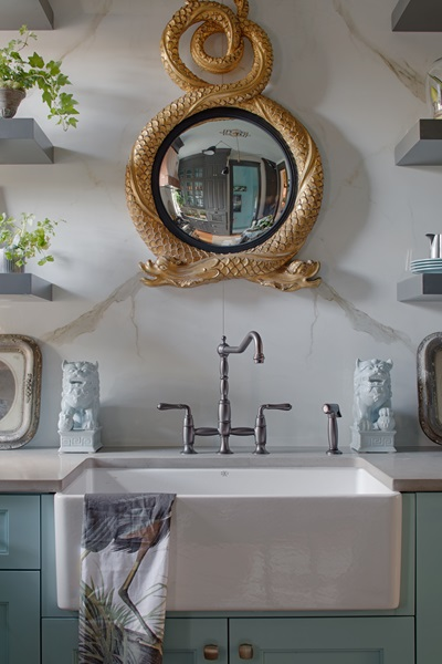 "DXV Victorian Bridge Faucet and DXV Hillside 30"" Apron Sink styled by Lisa Mende"