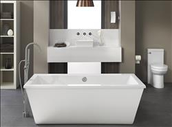 DXV Seagram Freestanding Soaking Tub and One-Piece Toilet, Contemporary Tub Filler, Percy Wall-Mount Faucet and Pop Square Vessel Sink