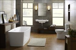 DXV Lyndon Collection Freestanding Soaking Tub, Wall-Hung Sink, Single-Lever Bathroom Faucet and One-Piece Elongated Dual-Flush Toilet, Lyndon Single Lever Lavatory Faucet  and Square Floor Mount Tub Filler