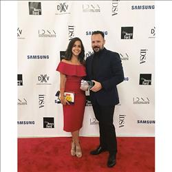 Product designers Gabriela Ravassa and Greg Reinecker from DXV by American Standard attended the August 17, 2016 IDSA International Design Excellence Awards and accept the Silver Award for their Company's 3D printed metal residential faucet collection.