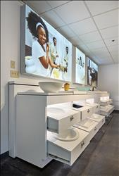 The new American Standard industrial design studio features ample space to develop and display prototypes for innovative new products. Shown here are bathroom sink options that include vessel, under counter, wall-mount, above counter, and drop-in configurations.