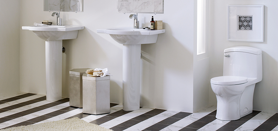 7 Faucet Finishes For Fabulous Bathrooms: Roycroft Modern Bathroom Collection From DXV